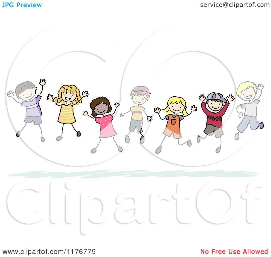 Cartoon of Happy Multi Ethnic and Gender Stick Children Jumping ...