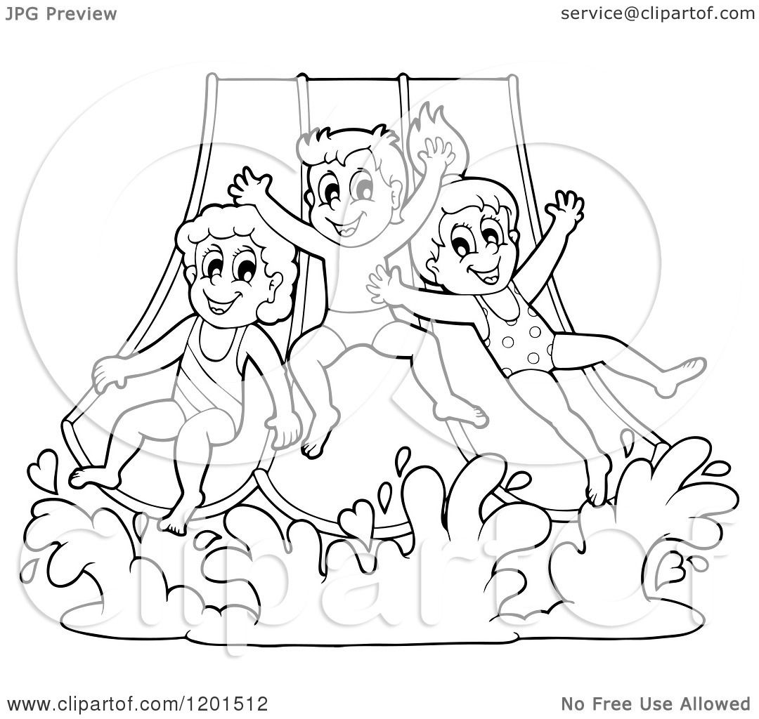 cartoon of happy outlined children going down a water park slide