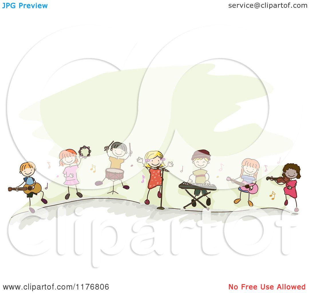 Cartoon of Happy Stick Children Playing Music Instruments Together ...