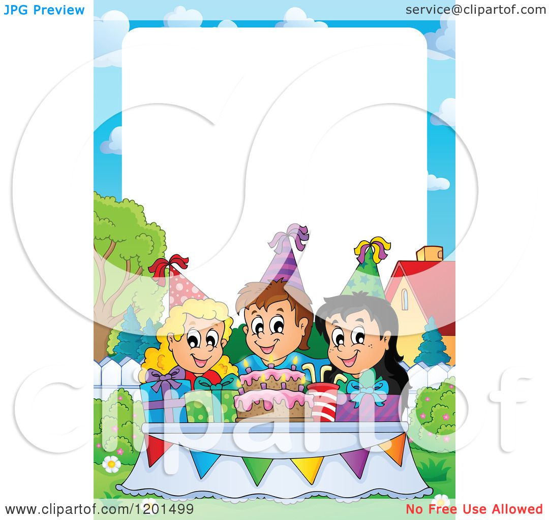 Cartoon of Happy Talking Children Around a Cake at a Birthday Party