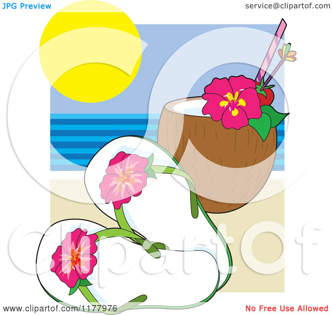 d3a4c1c57 Cartoon of Hibiscus Flip Flops with a Coconut Drink on a Beach - Royalty  Free Vector