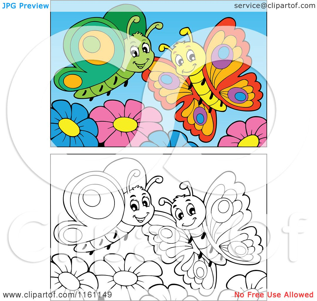 cartoon of outlined and colored butterflies and flowers royalty