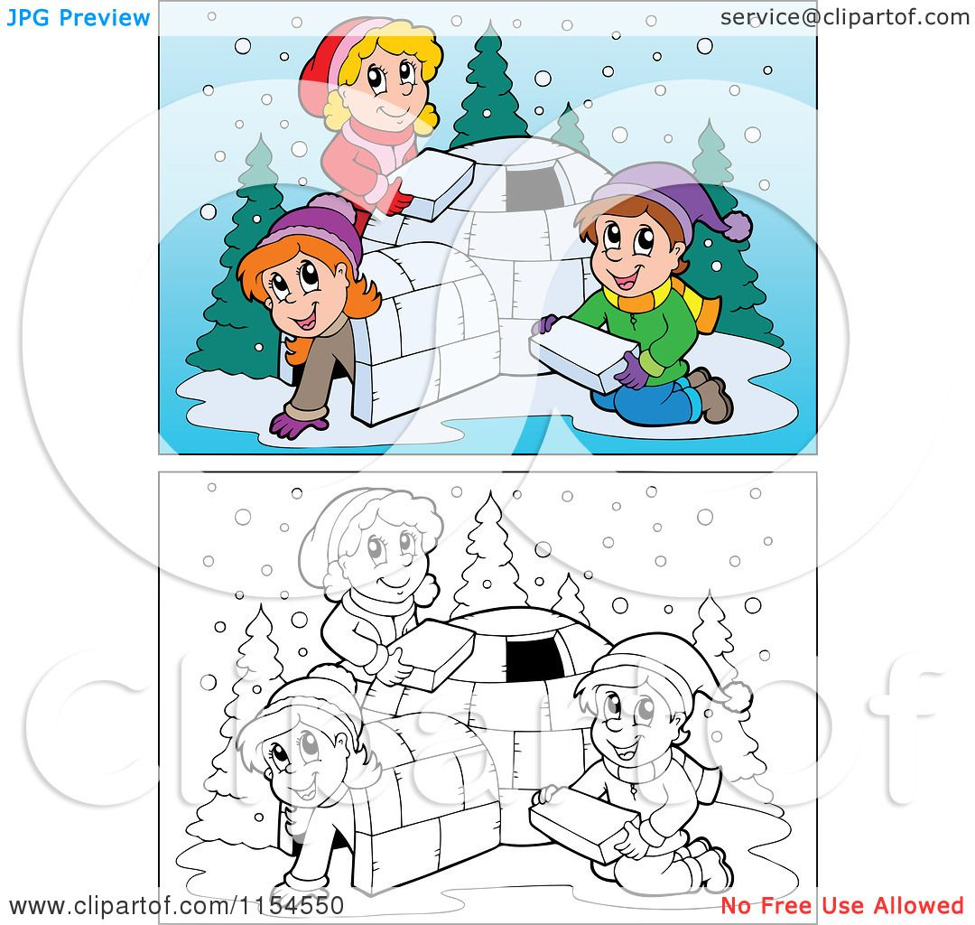 Cartoon of Outlined and Colored Kids Building an Igloo