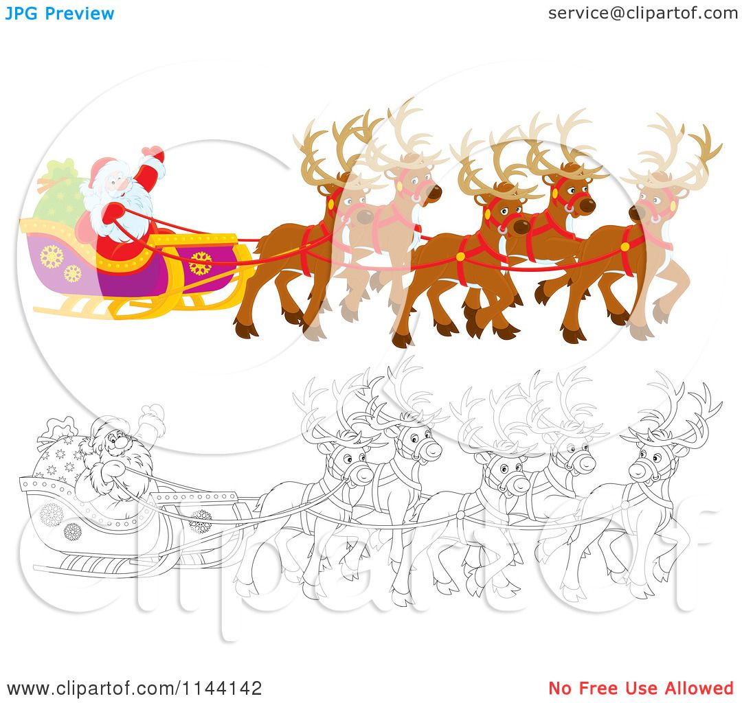 Cartoon of Outlined and Colored Magic Reindeer and Santa Waving ...