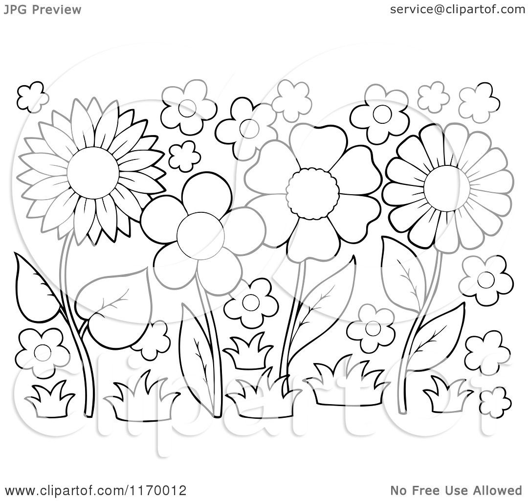 flower garden clipart outline | wallpapers background