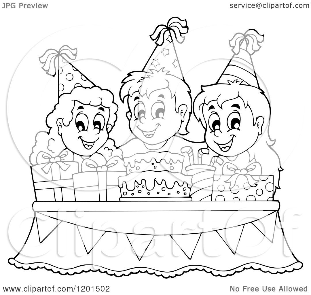 Cartoon Of Outlined Happy Children Around A Cake And