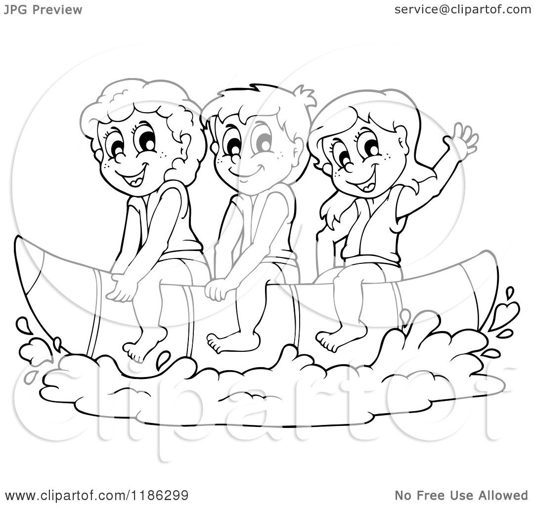 cartoon of outlined happy children wearing life jackets