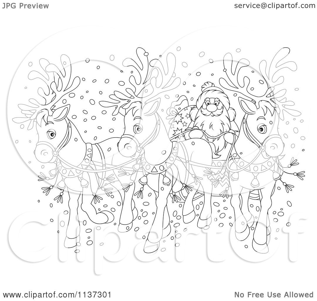 Reindeer pulling sleigh coloring pages