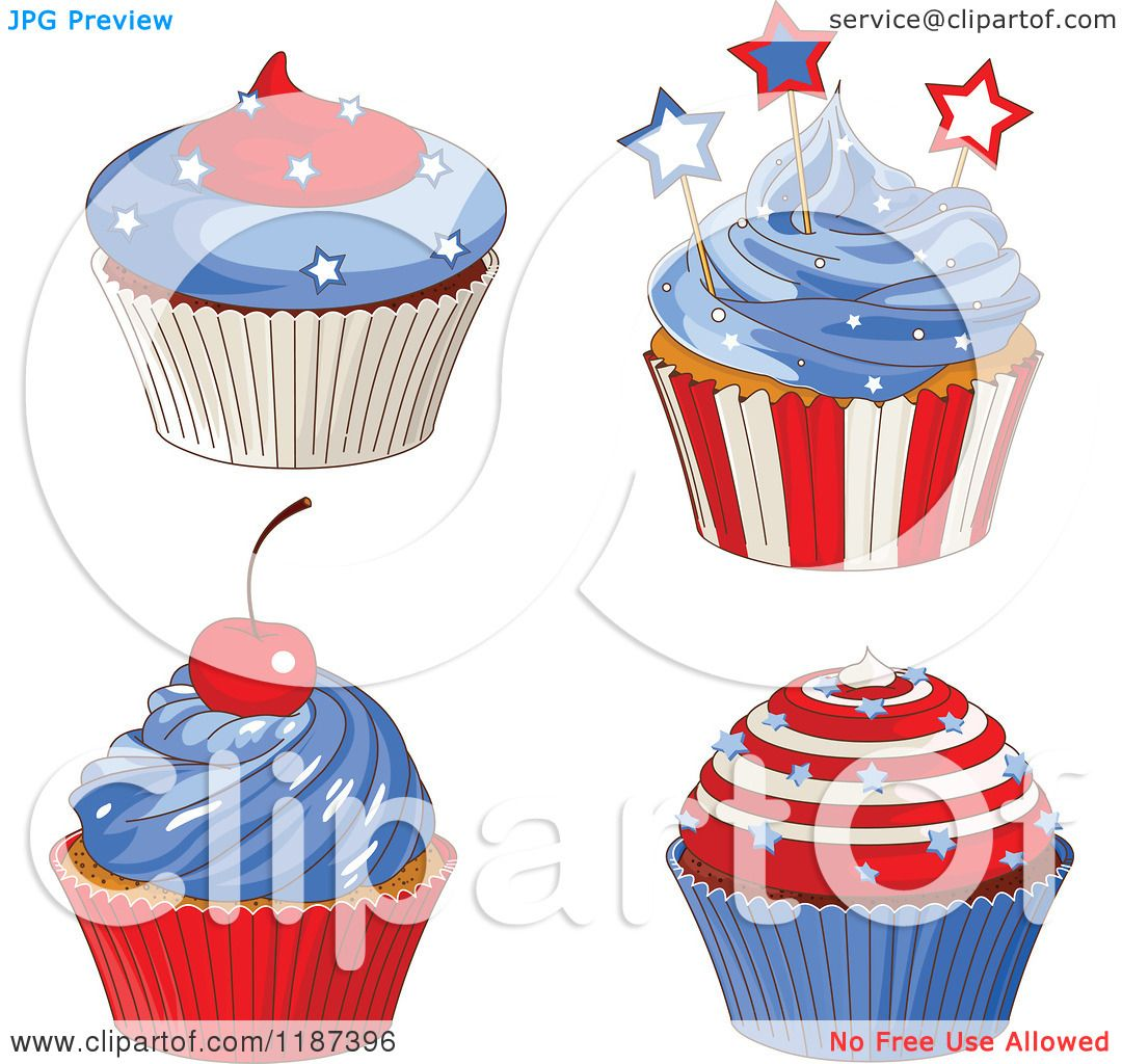 May The 4th Be With You Clip Art: Cartoon Of Patriotic Fourth Of July Cupcakes