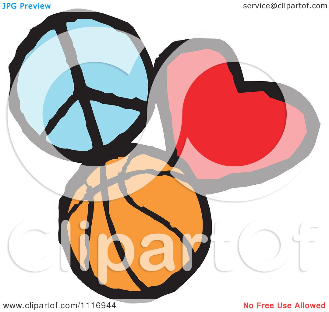 cartoon of peace love basketball graphics royalty free vector