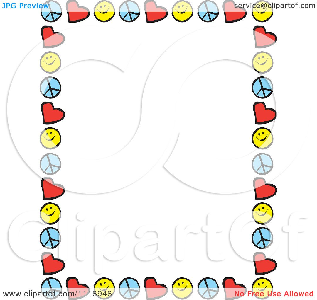 Cartoon Of Peace Love Happiness Border Frame With