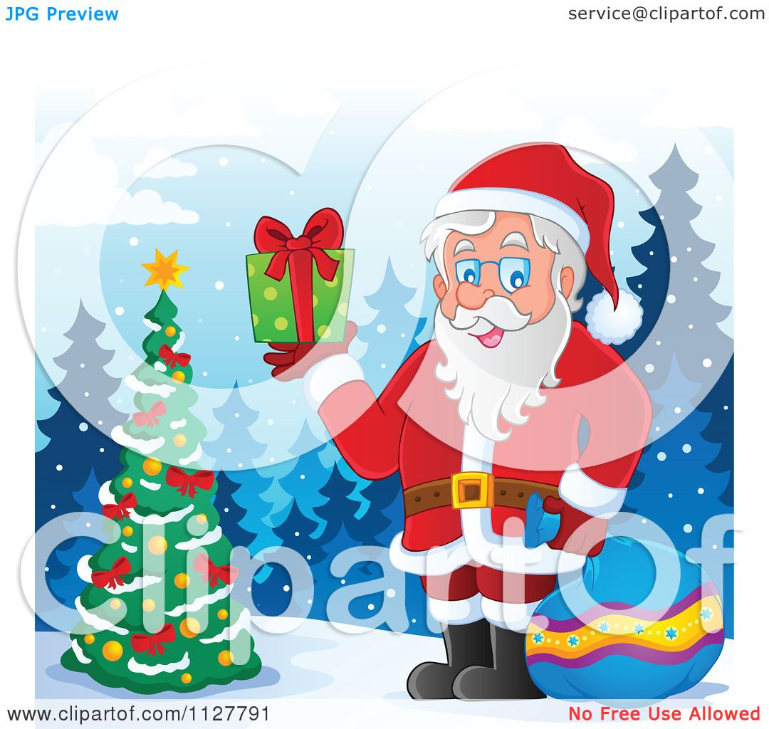 Outdoor Christmas Decorations Clipart: Cartoon Of Santa Holding A Gift By An Outdoor Christmas