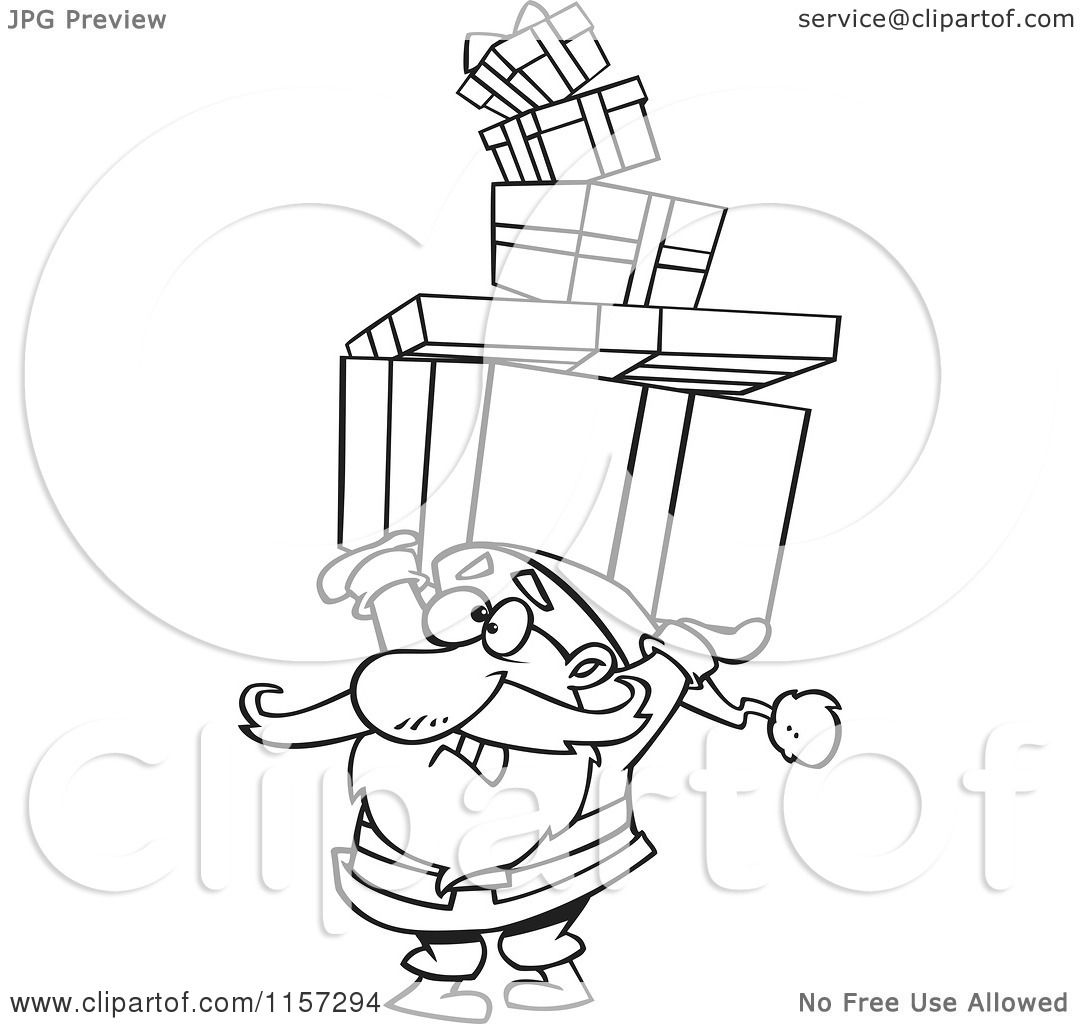 Cartoon Of Santa Holding A Stack Of Christmas Gifts Over