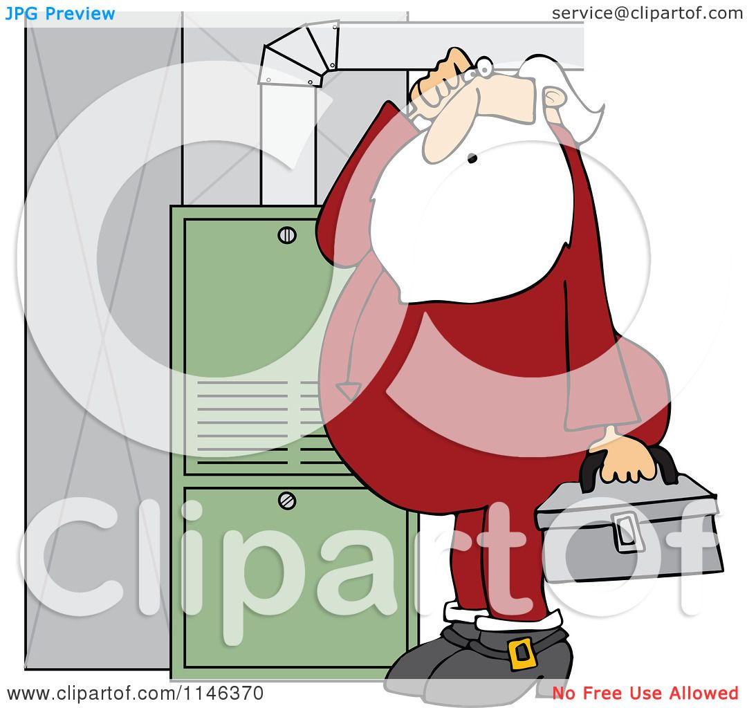 Cartoon of Santa in His Pajamas Trying to Fix a Furnace - Royalty ...