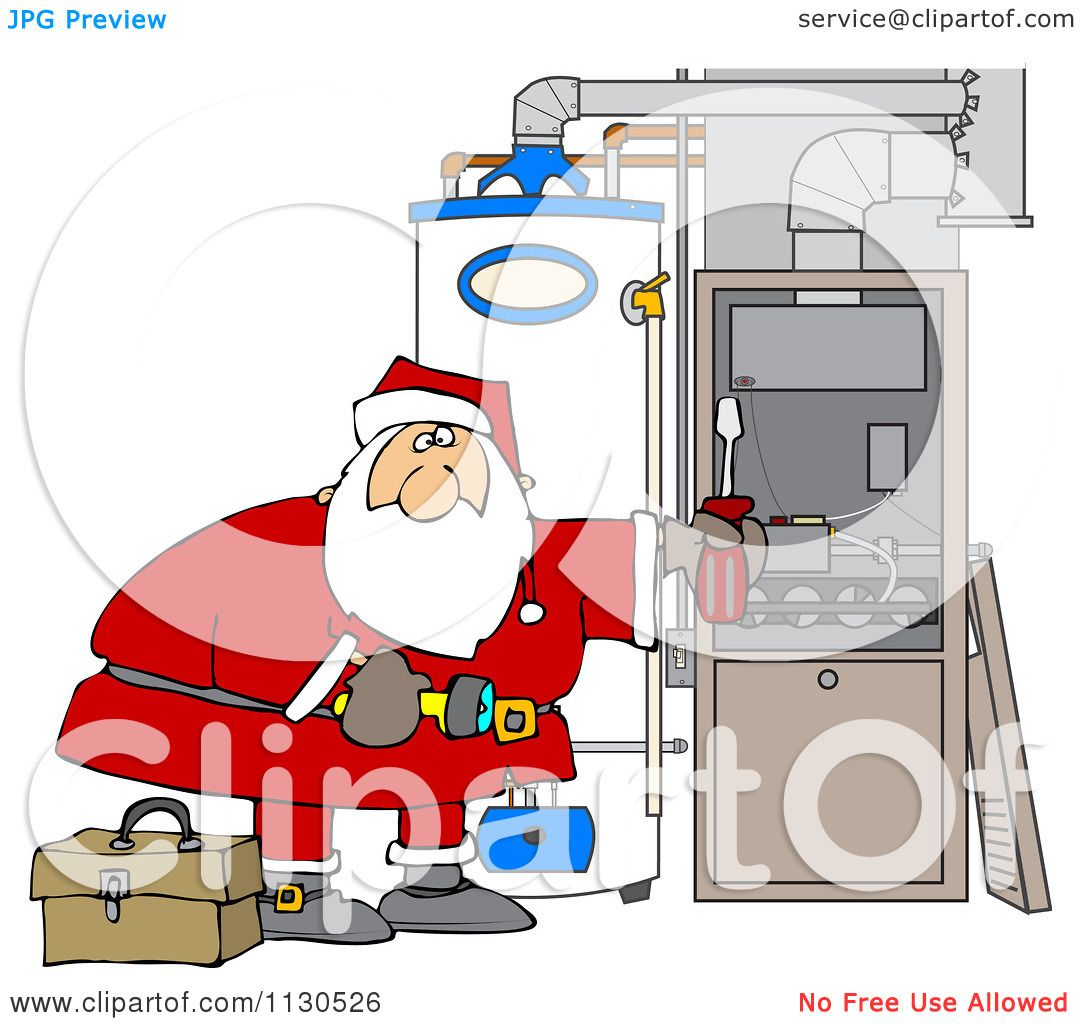 Cartoon Of Santa Working On A Hvac Furnace Royalty Free