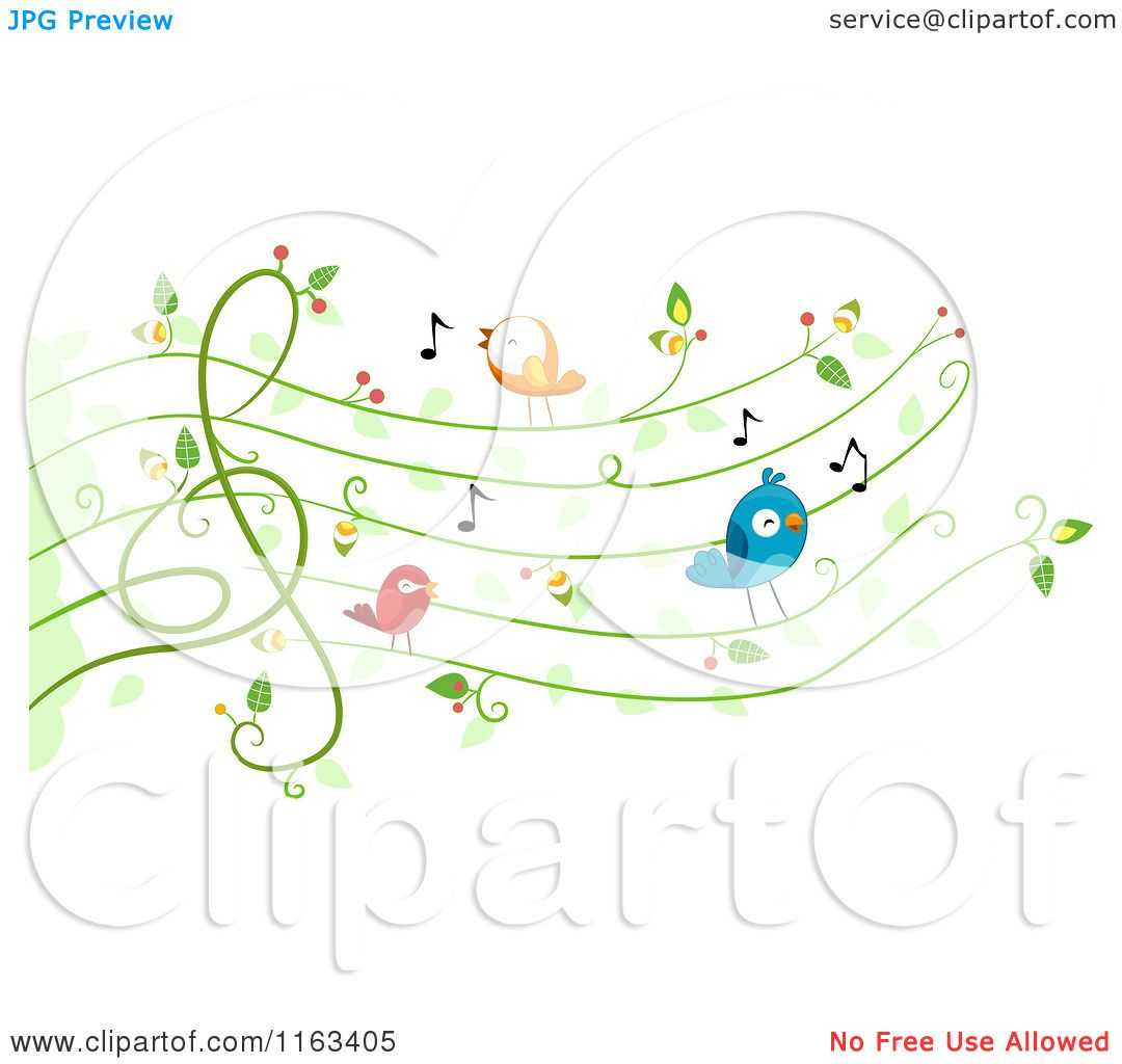 Cartoon Of Singing Birds On A Vine Music Chart Royalty Free Vector Clipart By Bnp Design