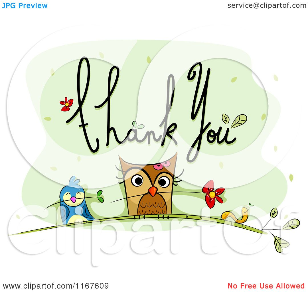 Cartoon Of Thank You Text With An Owl Bird Worm And