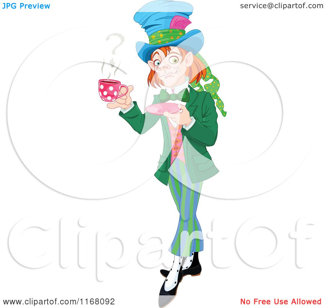Larger preview vector clip art of a happy yellow coffee cup character - Cartoon Of The Mad Hatter Holding A Cup Of Tea With A Question Mark In Steam Preview Clipart