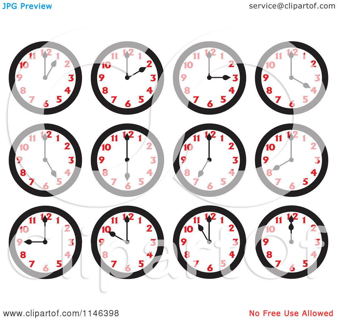 Cartoon Of Wall Clocks On The Hours Royalty Free Vector