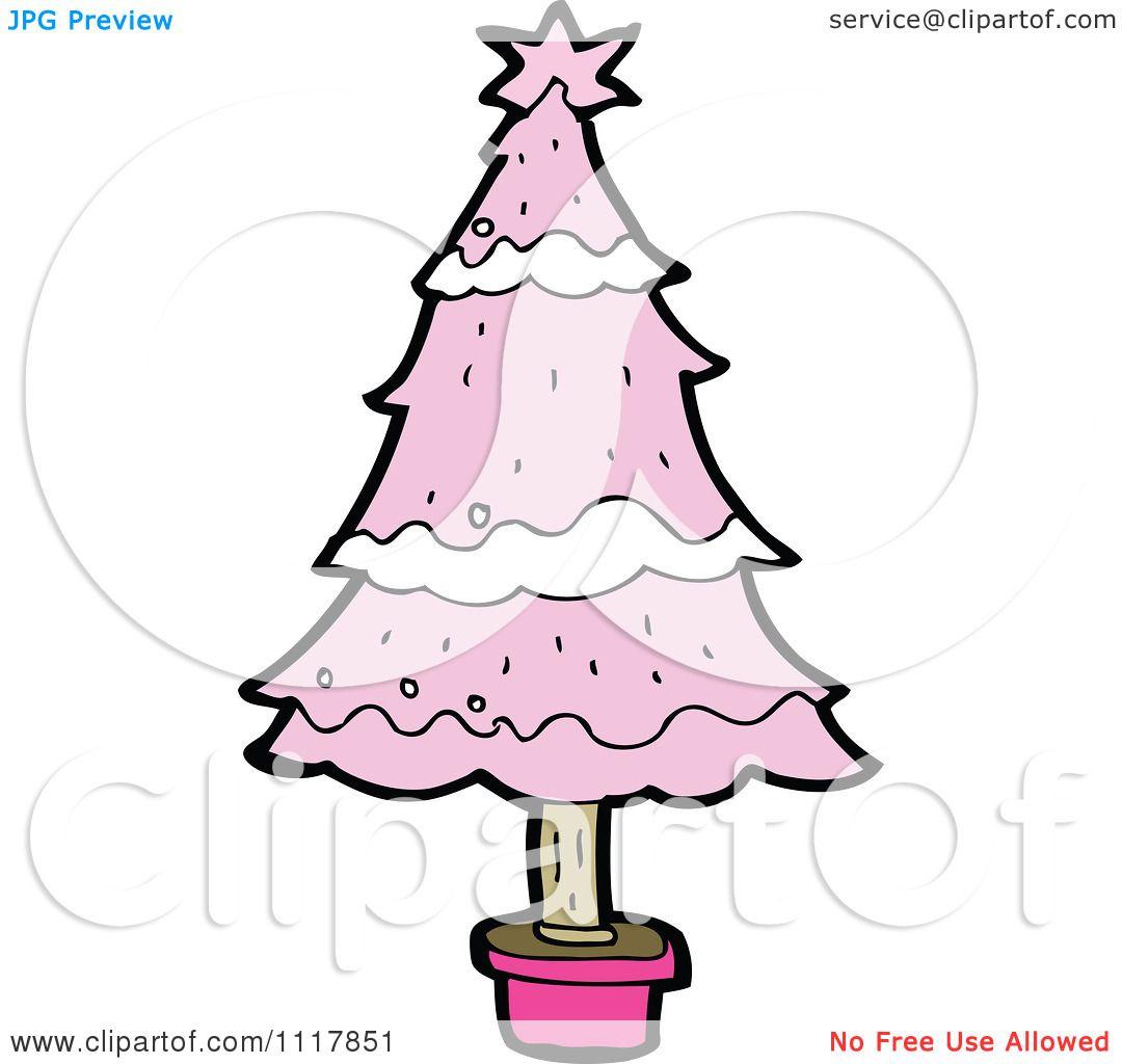 Cartoon Pink Xmas Tree 5 Royalty Free Vector Clipart By