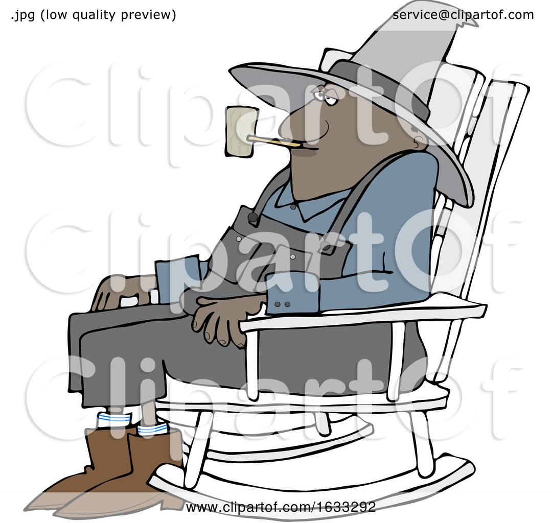 Picture of: Cartoon Senior Black Man Smoking A Pipe And Sitting In A Rocking Chair By Djart 1633292