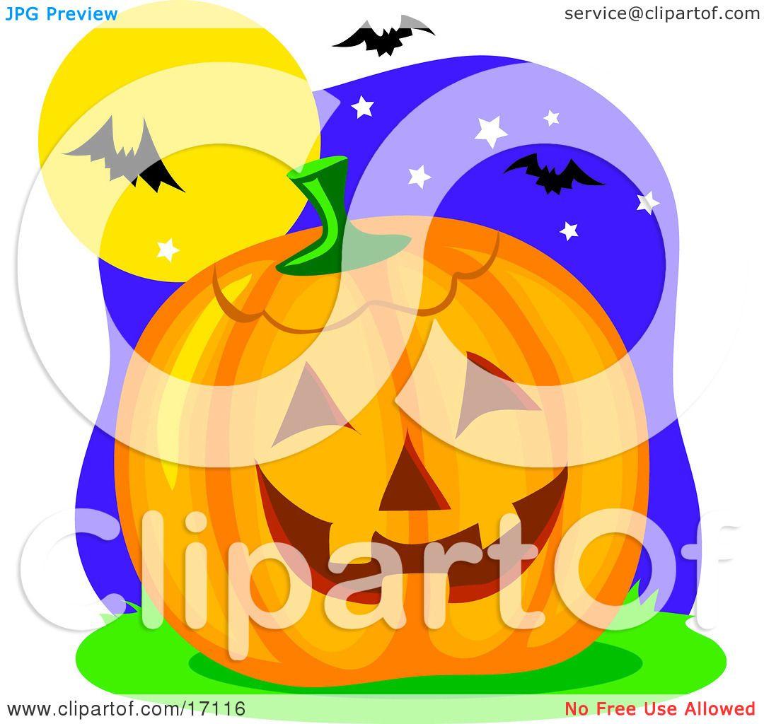 Carved Halloween Pumpkin Resting Under Vampire Bats That ...