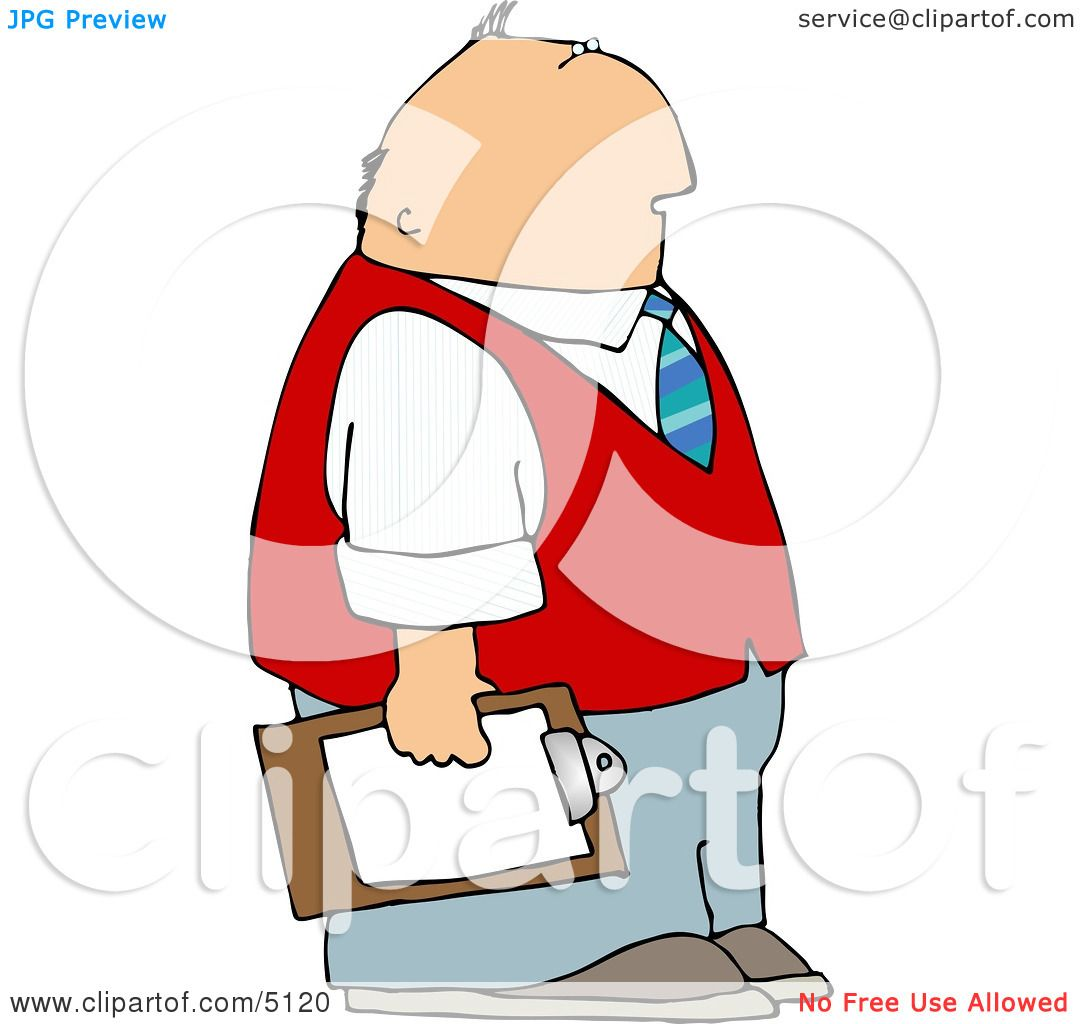 Executive Clip Art: Caucasian Male Store Manager Holding A Clipboard Clipart