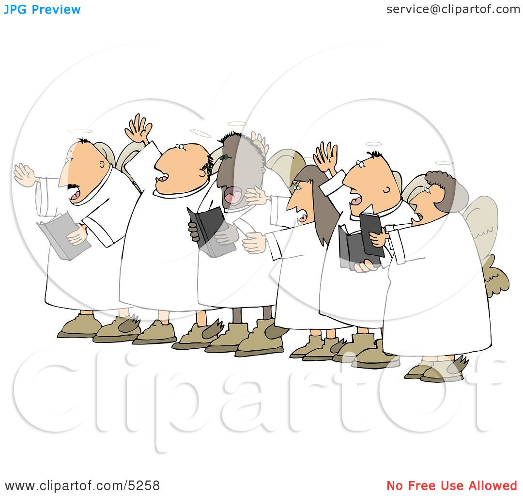 Chorus Angels Singing Together Clipart Illustration By