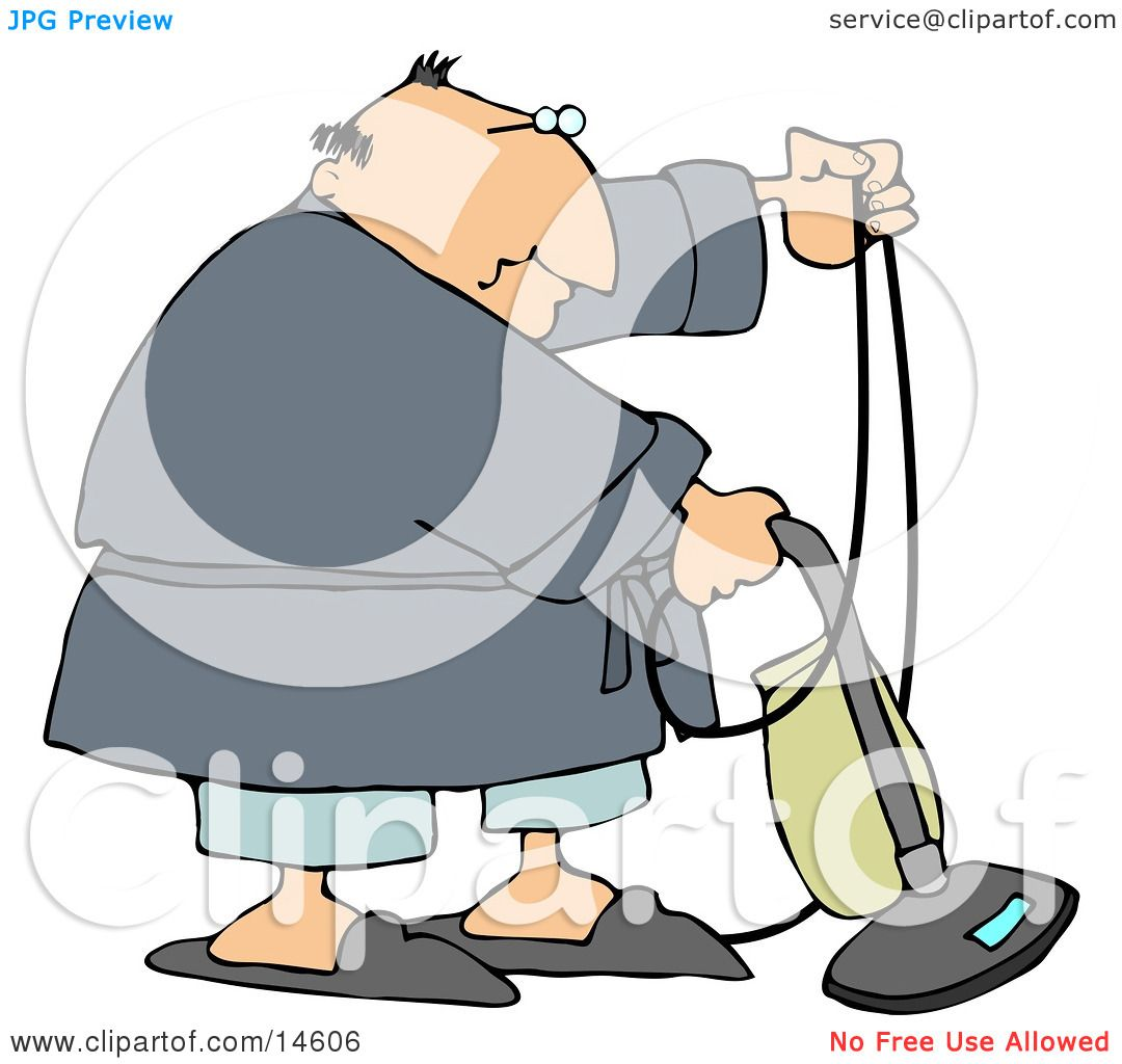 Chubby Man In A Robe Pjs And Slippers Using A Vacuum To