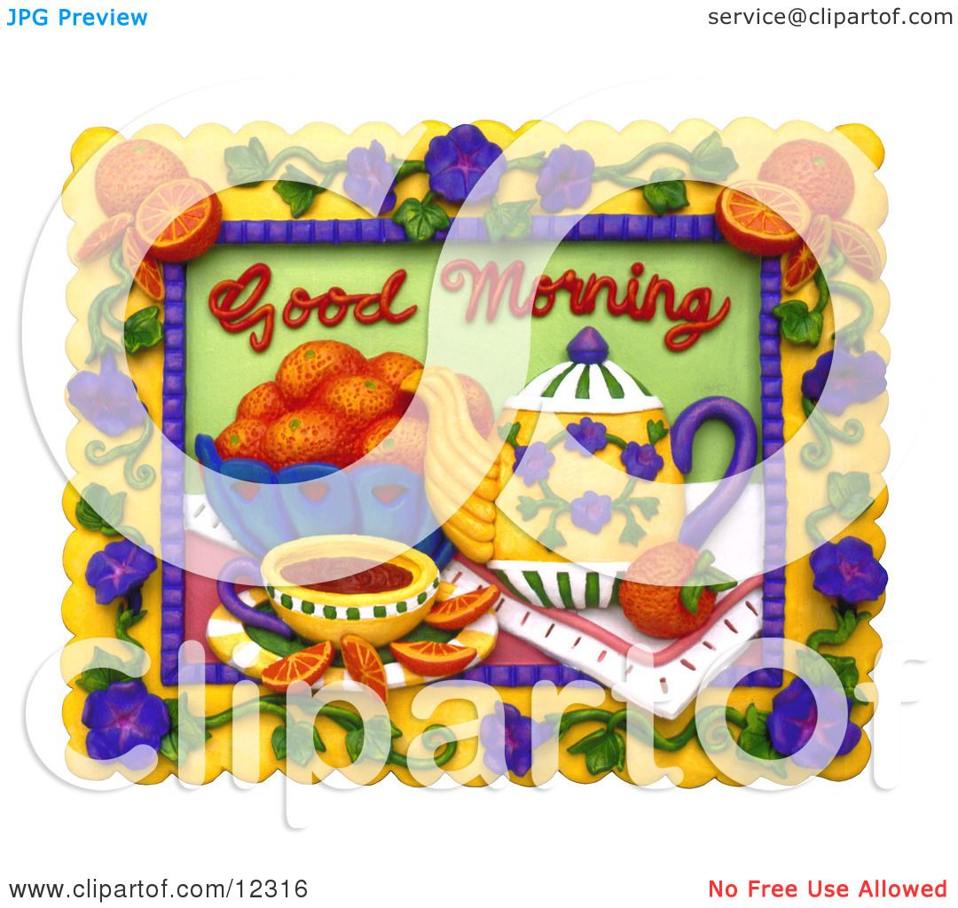 Clay Sculpture Clipart Good Morning Tea And Fruit Scene - Royalty ...