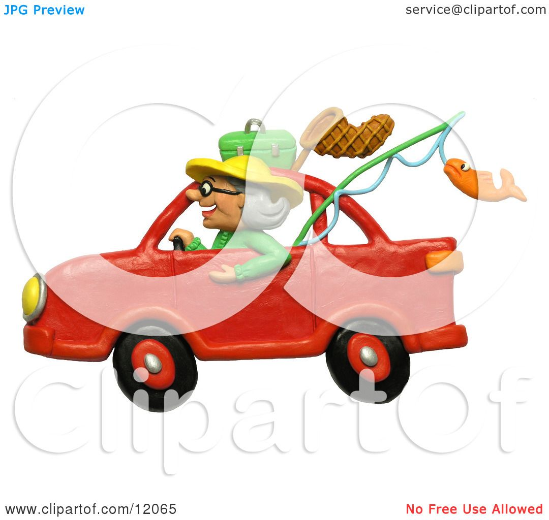Clay Sculpture Clipart Granny Driving A Car To Go Fishing - Royalty ...