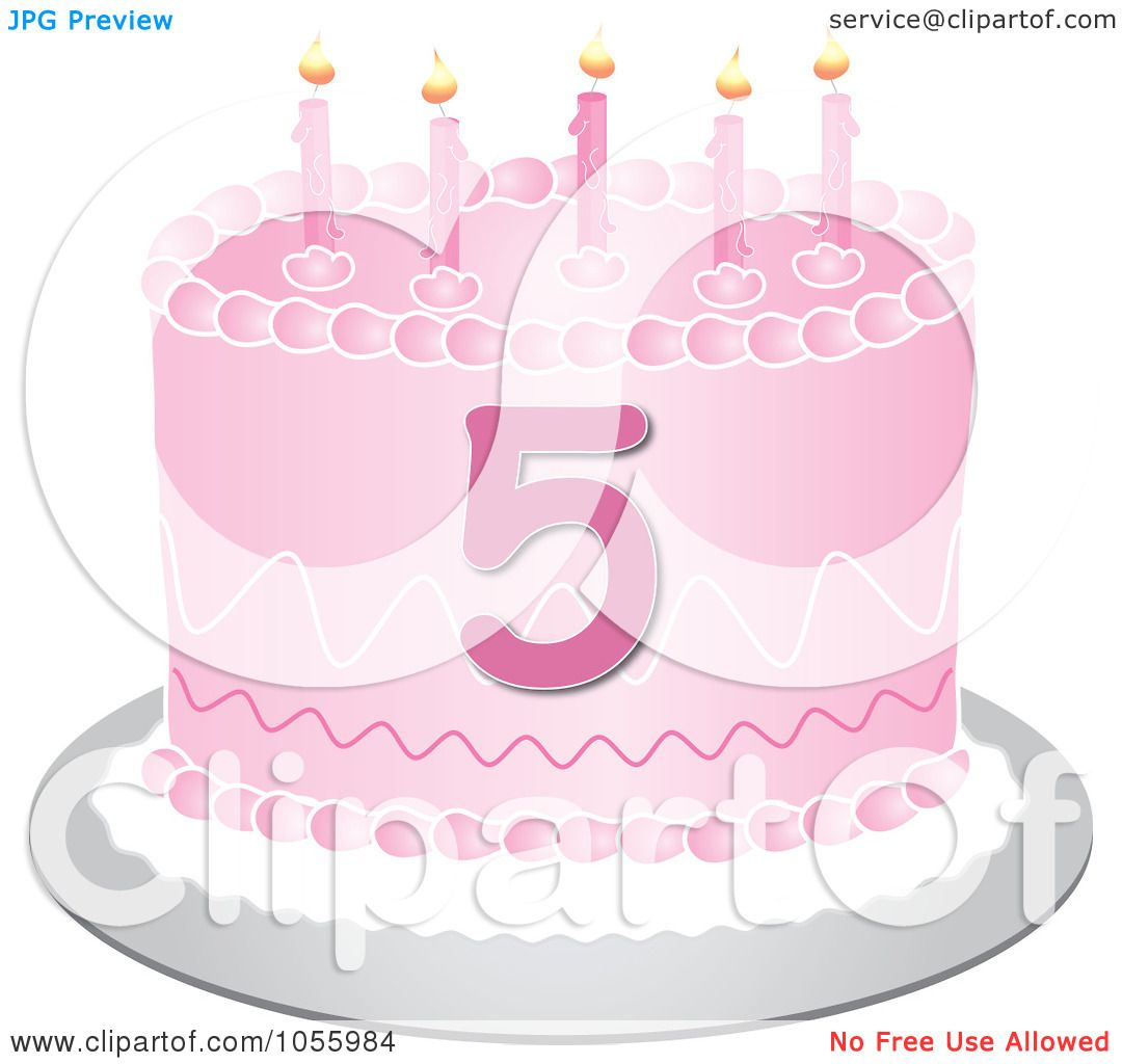 Art Cake Kuwait Number : Clip Art Illustration of a Pink Birthday Cake with the ...