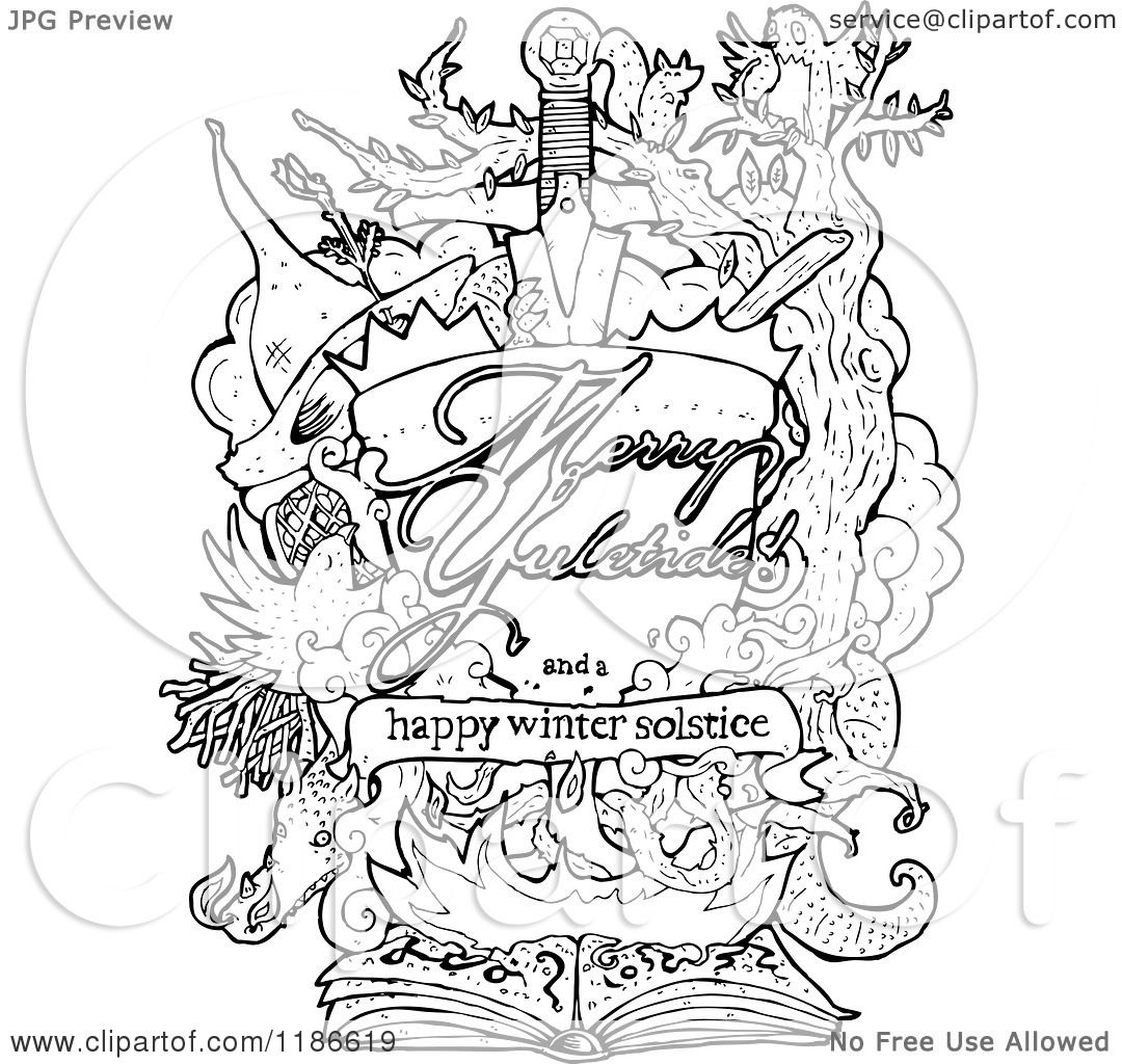 winter solstice coloring pages - clip art of a winter solstice poster royalty free vector