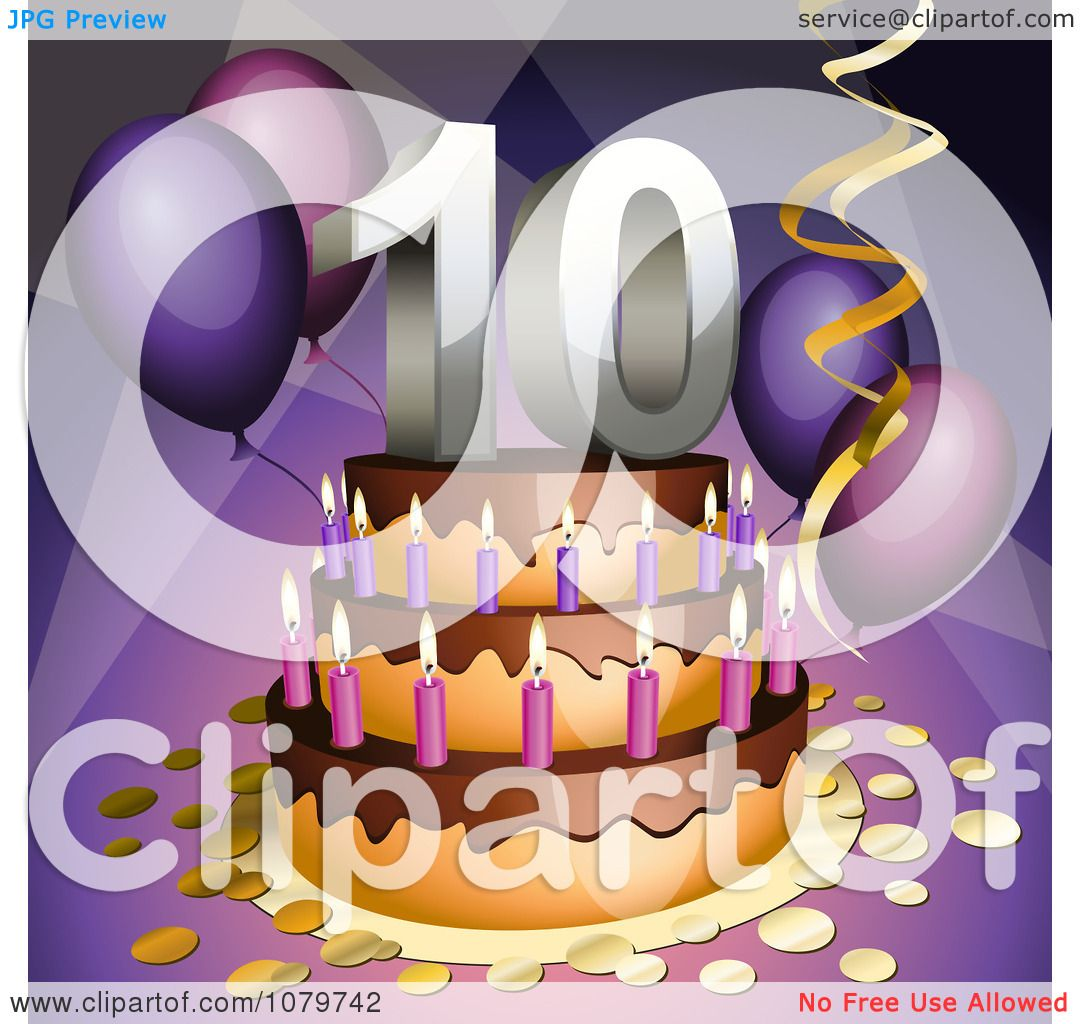 Clipart 3d 10th Birthday Or Anniversary Party Cake - Royalty Free ...
