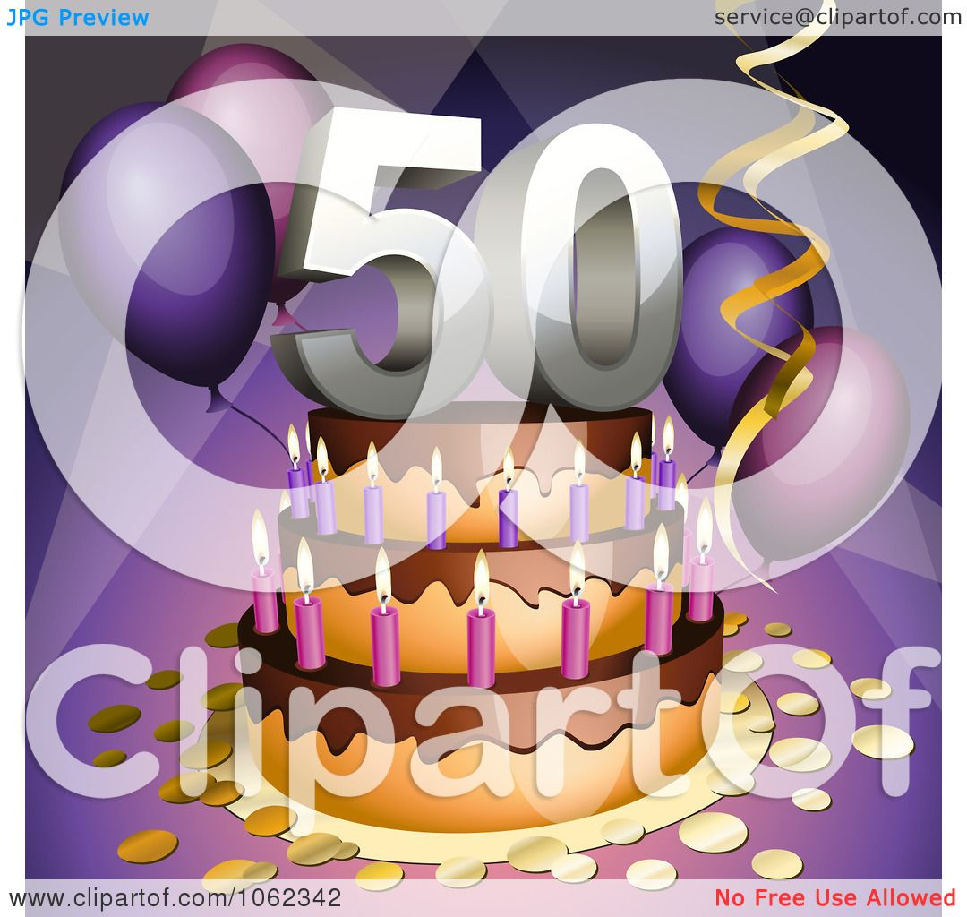 Clipart 3d 50th Birthday Or Anniversary Party Cake - Royalty Free ...