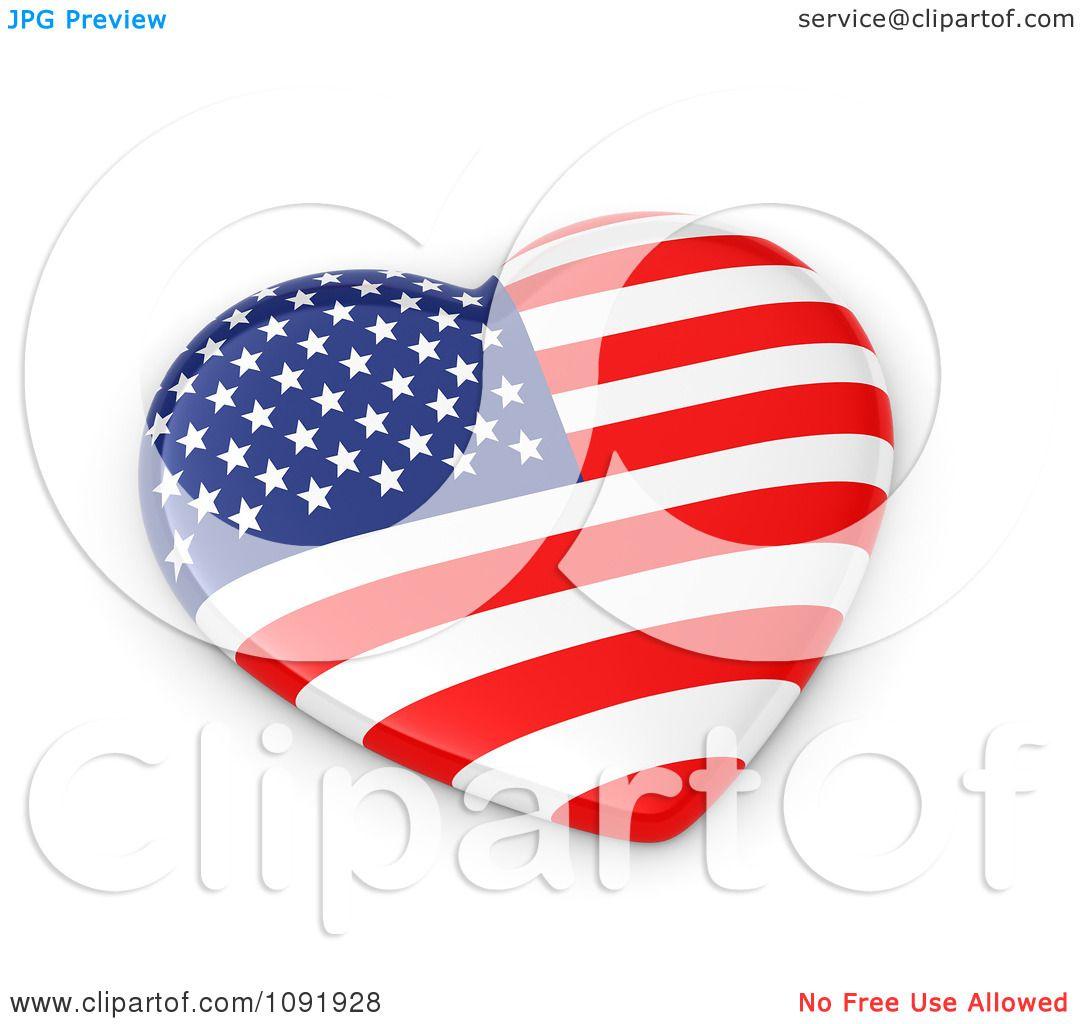 Clipart 3d American Flag Heart - Royalty Free CGI ...