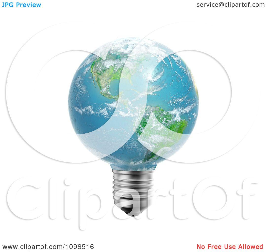 Clipart 3d American Light Bulb