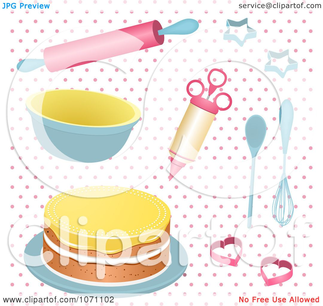 Clipart 3d Baking Utensils And A Cake On Pink Polka Dots