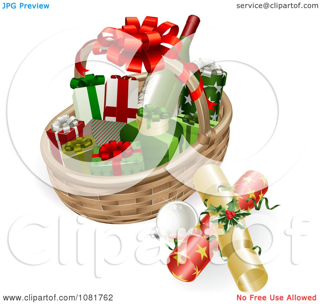 Clipart d basket with wine crackers baubles and christmas