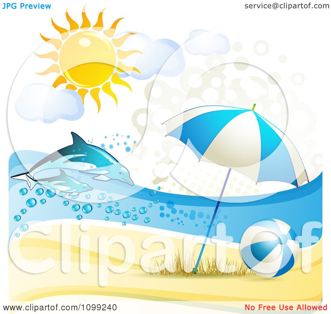 Clipart 3d Beach Umbrella And Ball With Leaping Dolphins