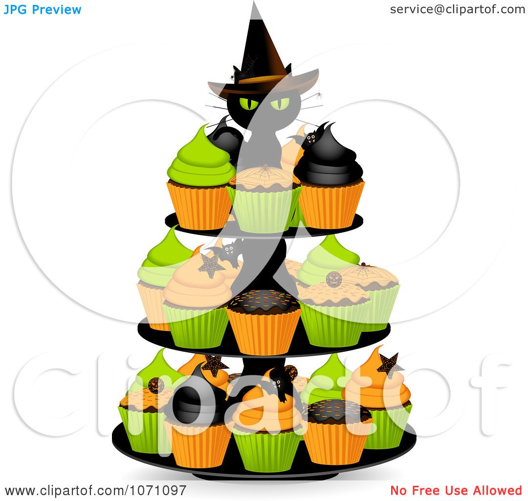 clipart 3d black witch cat on a halloween cupcake stand royalty free vector illustration by elaineitalia - Halloween Cupcake Holder