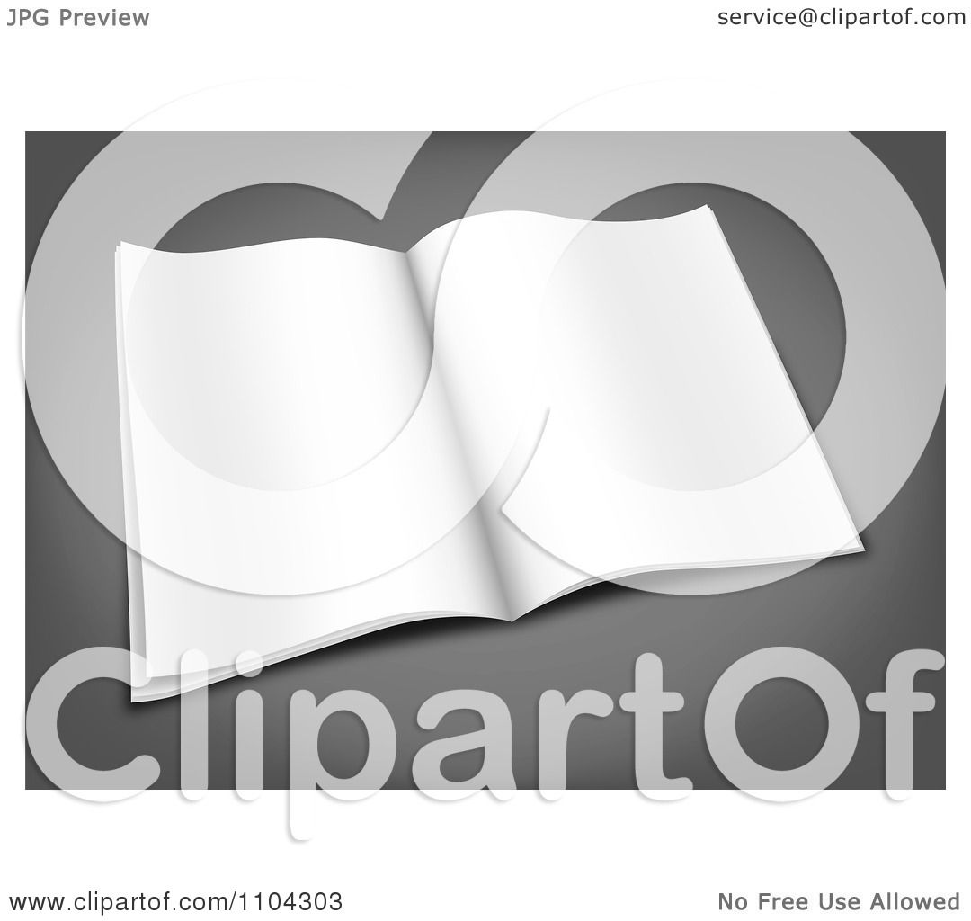 Clipart 3d Blank Open Magazine On Gray - Royalty Free ...