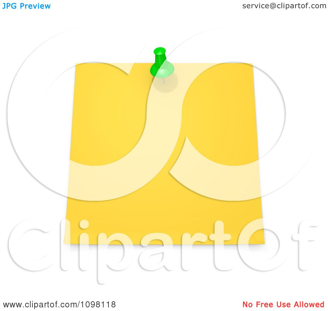 clipart 3d blank yellow memo note a green drawing pin clipart 3d blank yellow memo note a green drawing pin royalty cgi illustration by 3pod