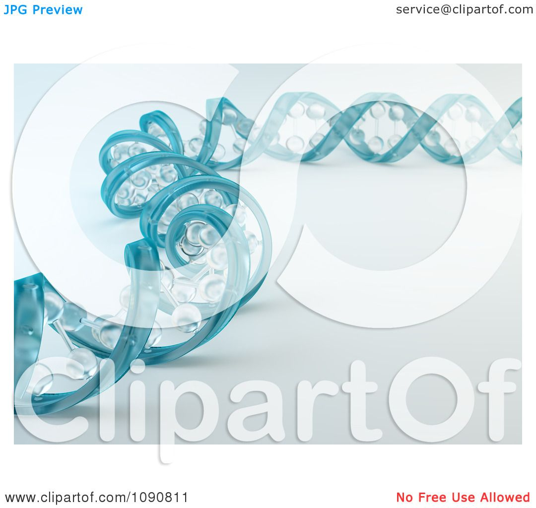 Clipart 3d Blue Glass Dna Spiral Strand - Royalty Free CGI Illustration by ...