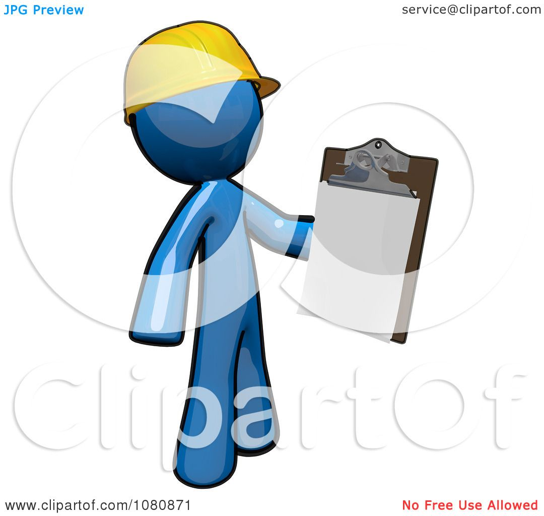 Clipart 3d Blue Man Construction Worker Holding A