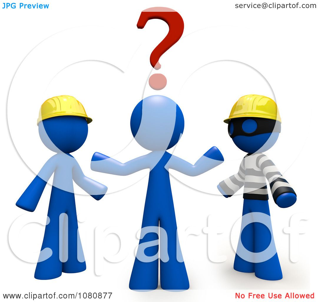 Clipart 3d Blue Man Trying To Decide Over A Thief Or Professional ...