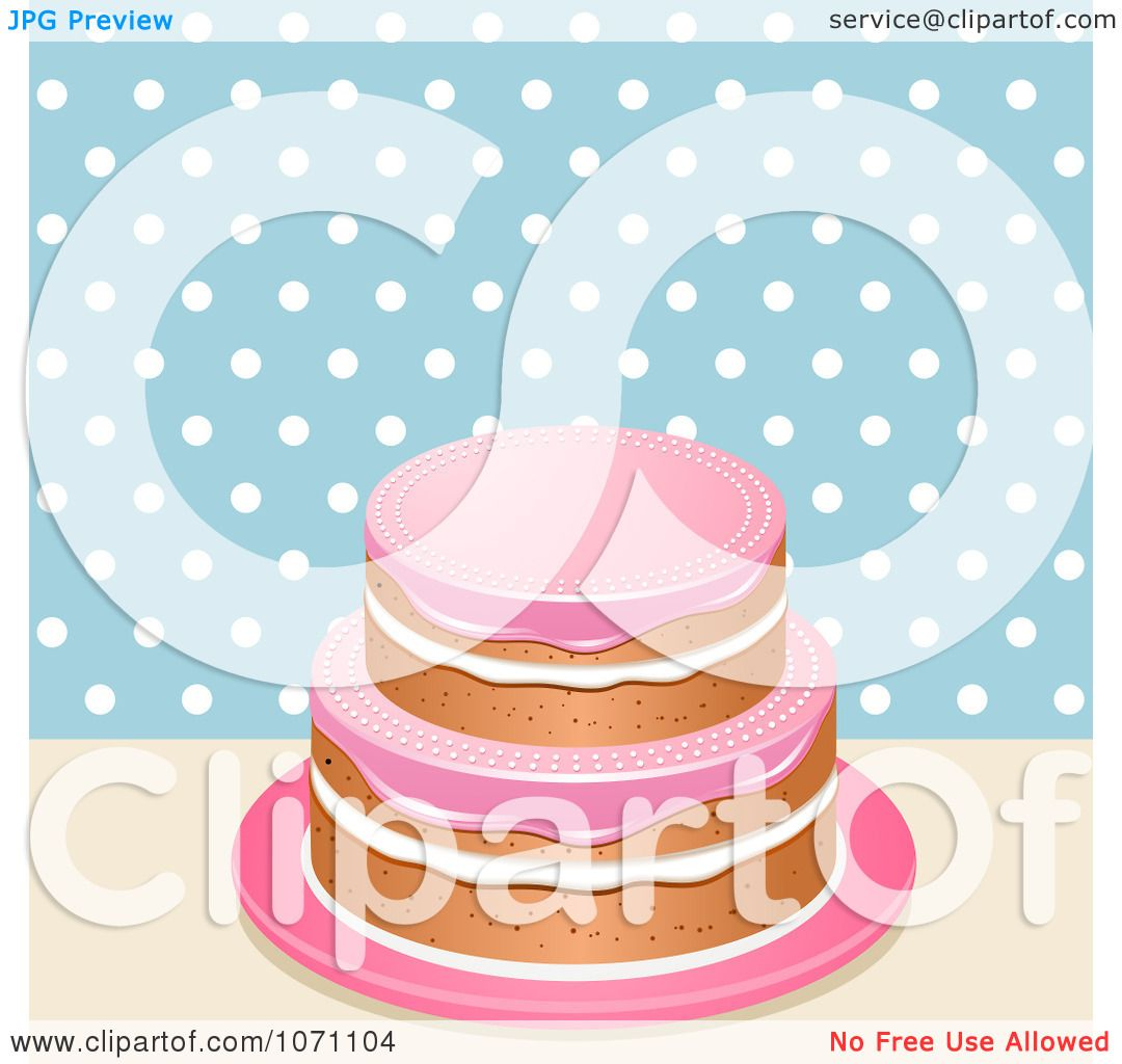 Cake With Icing Vector : Clipart 3d Cake With Pink Icing Against Blue And White ...