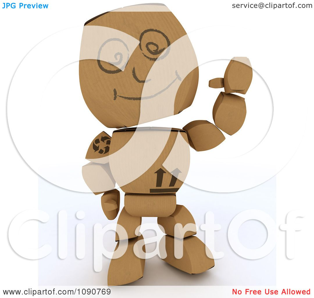 Clipart 3d Cardboard Box Man Waving - Royalty Free CGI ...