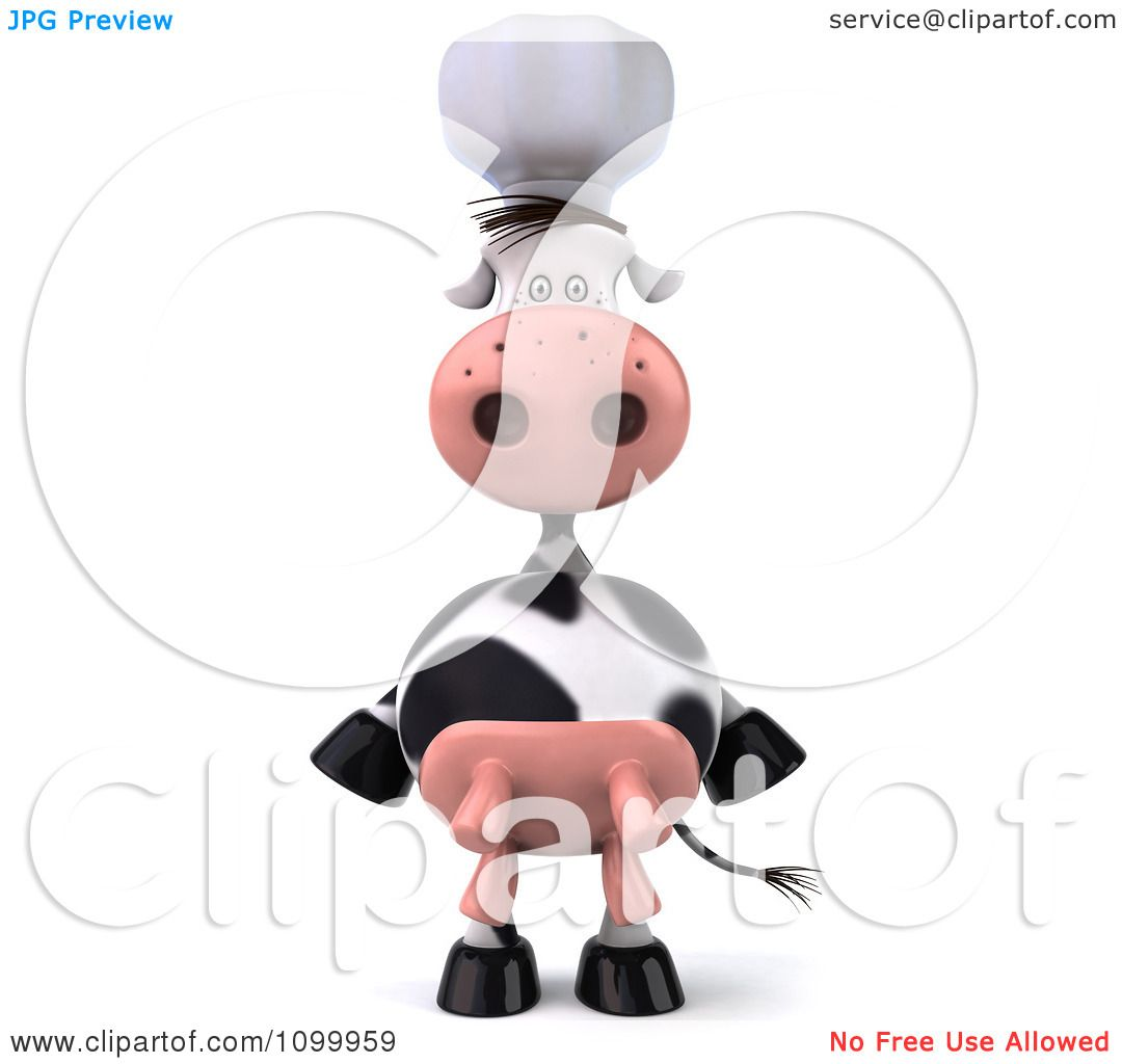 Clipart 3d Chef Cow Standing Upright