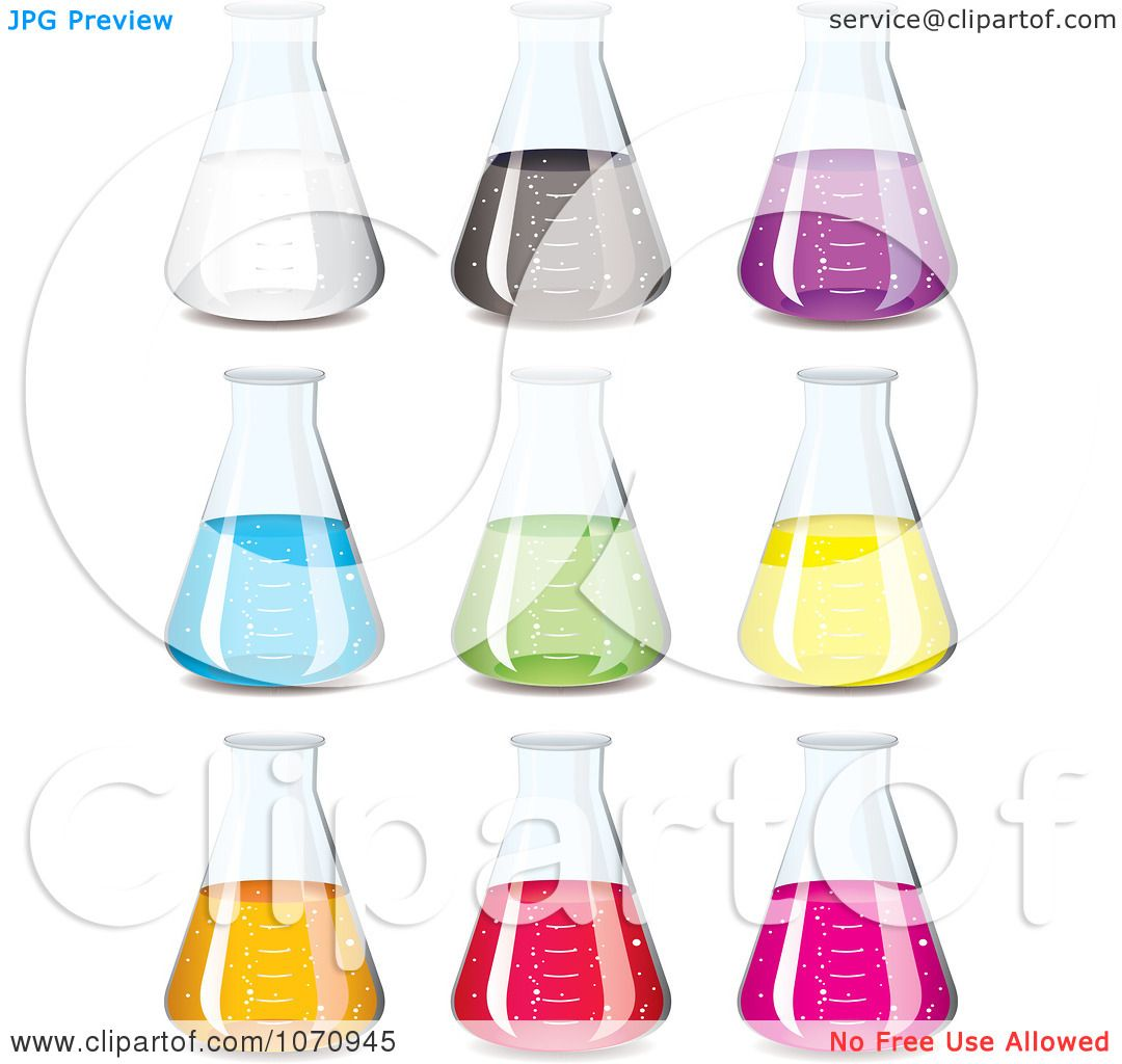 Clipart 3d chemistry science flasks with colorful chemicals - royalty